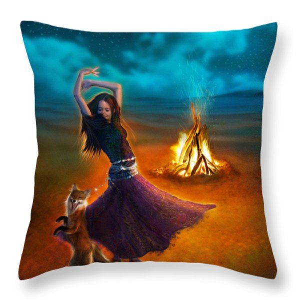 Dance Dervish Fox Throw Pillow by Aimee Stewart