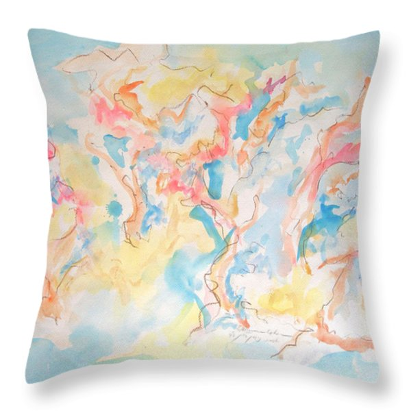 Dance Of Olive Trees Throw Pillow by Esther Newman-Cohen