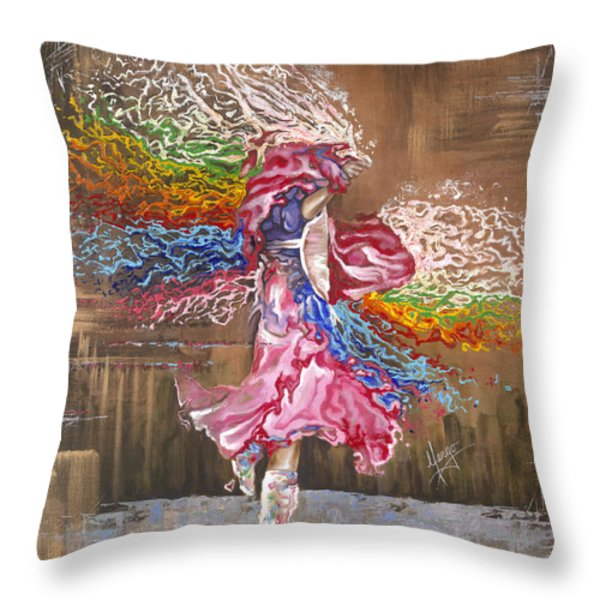 Dance through the color of life Throw Pillow by Karina Llergo Salto