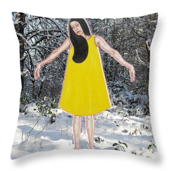 Dancer In The Snow Throw Pillow by Patrick J Murphy
