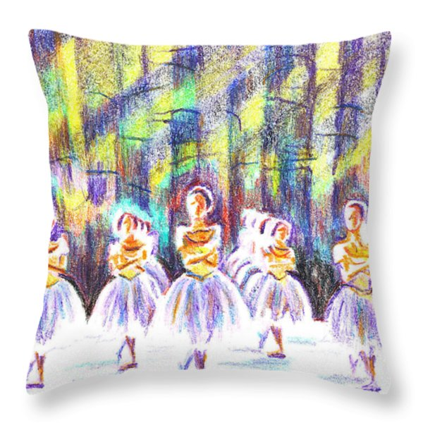 Dancers in the Forest Throw Pillow by Kip DeVore