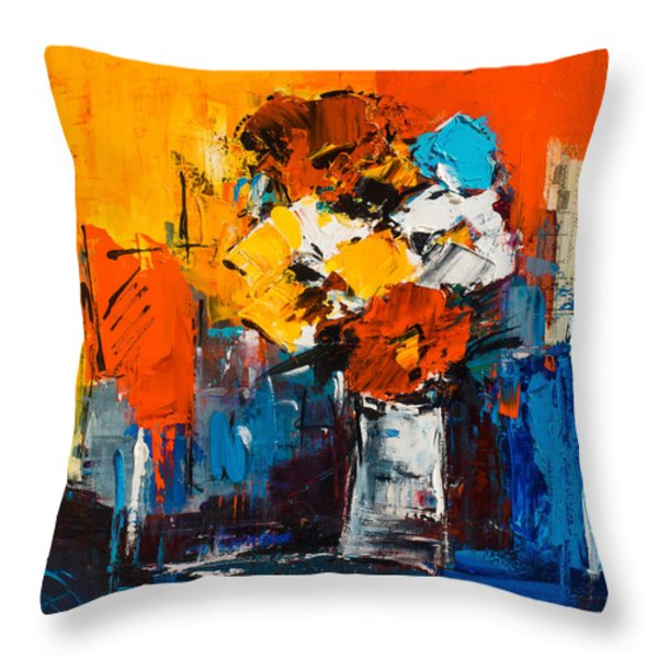 Dancing Colors Throw Pillow by Elise Palmigiani