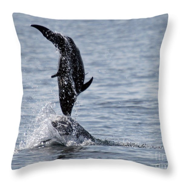 Dancing Dolphins Throw Pillow by Bob Hislop