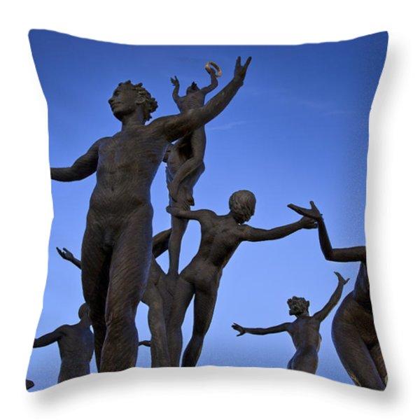 Dancing Figures Throw Pillow by Brian Jannsen