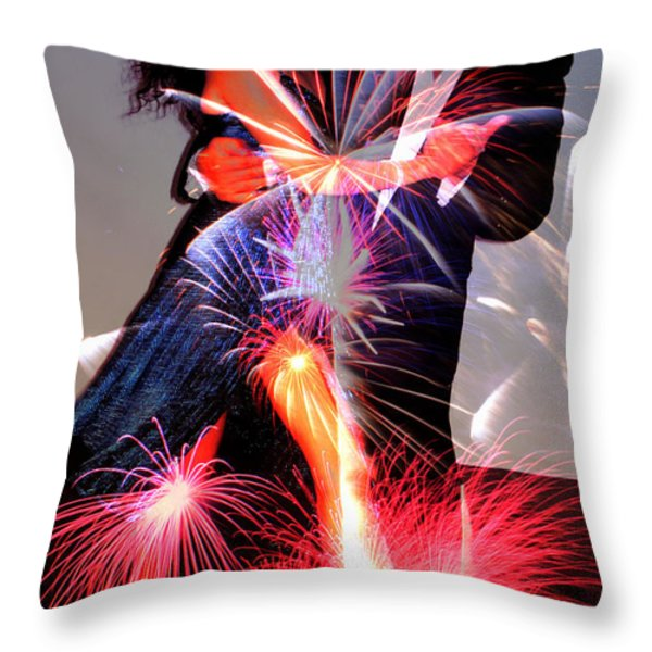 Dancing Fireworks Throw Pillow by M and L Creations