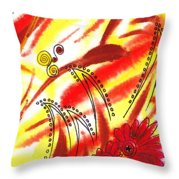 Dancing Lines And Flowers Abstract Throw Pillow by Irina Sztukowski
