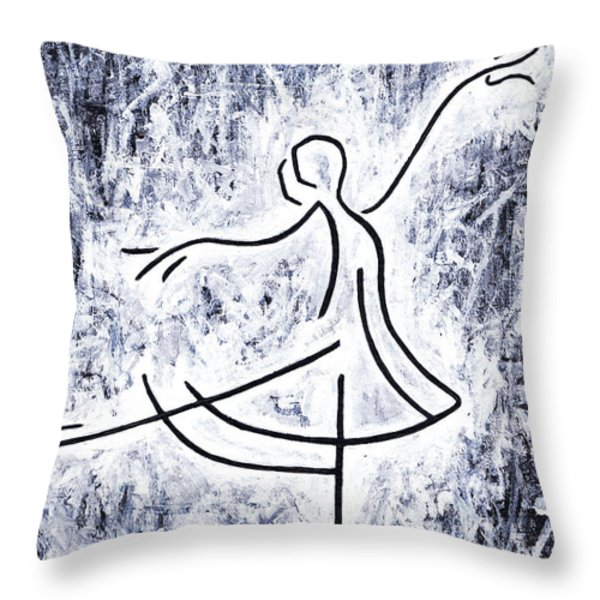 Dancing Swan Throw Pillow by Kamil Swiatek