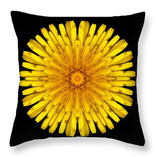 Dandelion Flower Mandala Throw Pillow by David J Bookbinder