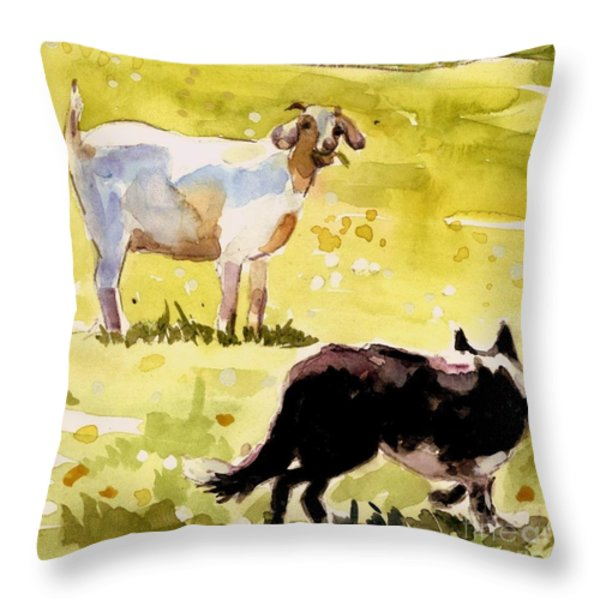 Dandelion Greens Throw Pillow by Molly Poole