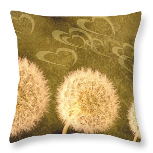 Dandelion Heads Throw Pillow by Amanda And Christopher Elwell