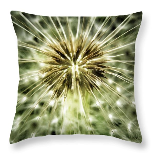Dandelion Seeds Throw Pillow by Marianna Mills