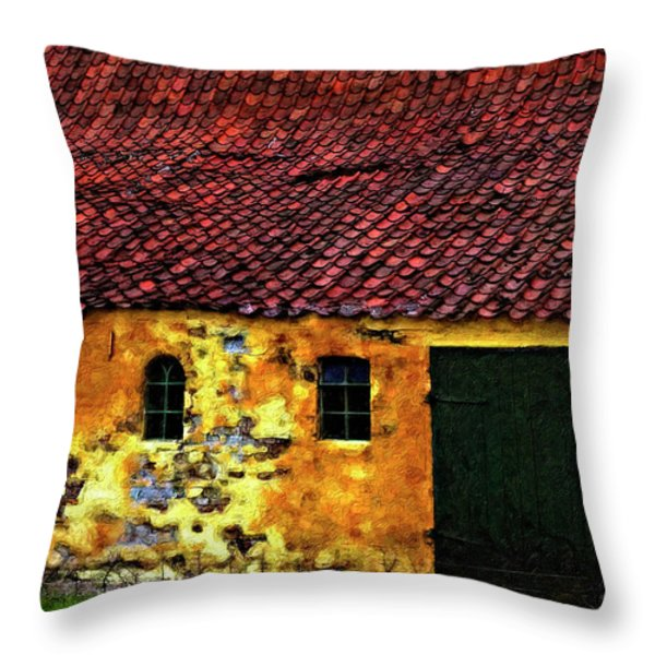 Danish Barn impasto version Throw Pillow by Steve Harrington