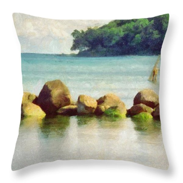 Danish Coast On The Rocks Throw Pillow by Jeff Kolker