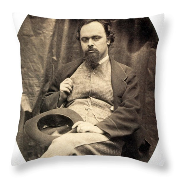 Dante Gabriel Rossetti English Poet Throw Pillow by Photo Researchers