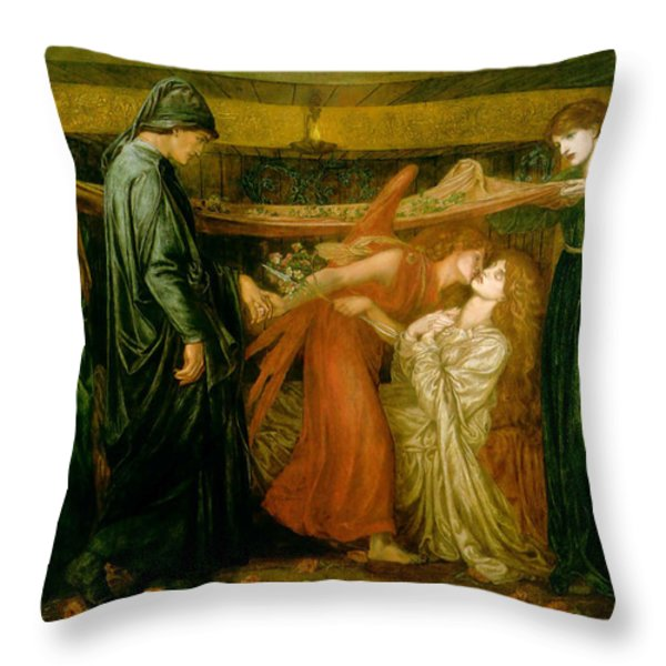 Dantes Dream at the Time of the Death of Beatrice 1856 Throw Pillow by Dante Gabriel Rossetti
