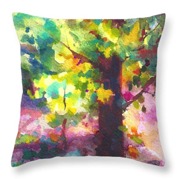 Dappled - light through tree canopy Throw Pillow by Talya Johnson