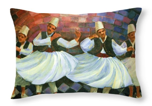 Daraweesh Dancing Throw Pillow by Laila Awad Jamaleldin