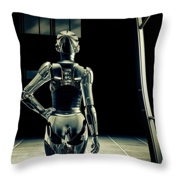 Dark Hall Throw Pillow by Bob Orsillo