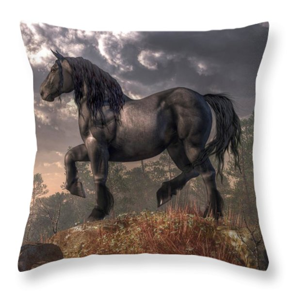 Dark Horse Throw Pillow by Daniel Eskridge