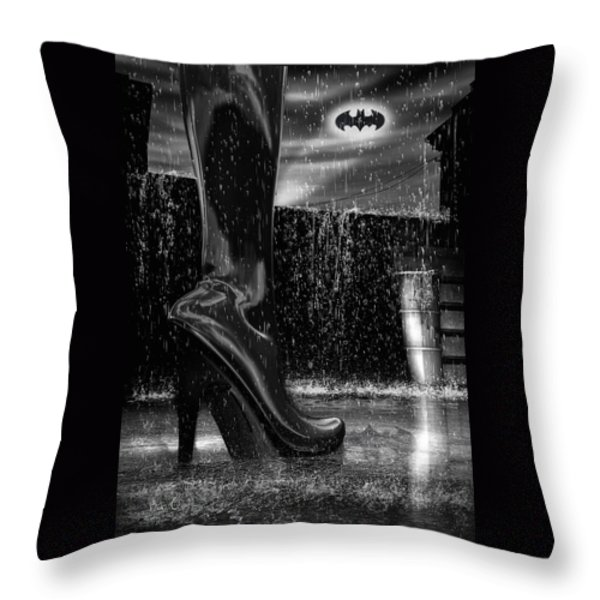 Dark Knight Shinny Boots Of  Leather Throw Pillow by Bob Orsillo
