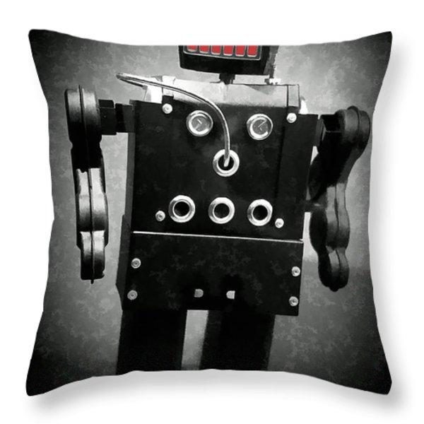 Dark Metal Robot Oil Throw Pillow by Edward Fielding