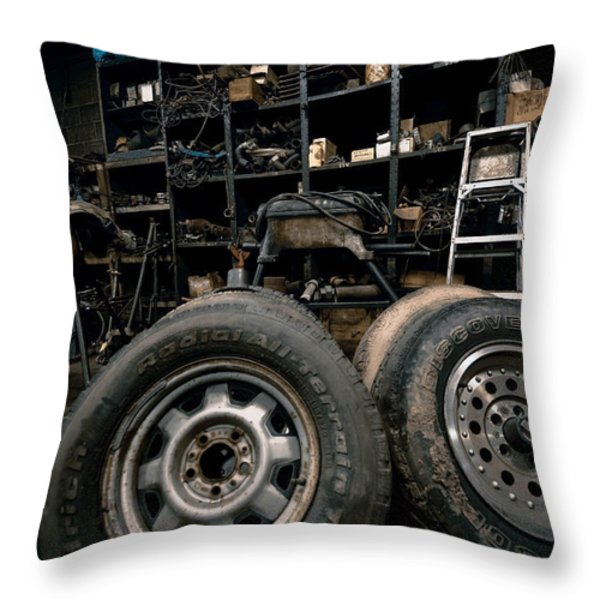 Dark Old Garage Throw Pillow by Amy Cicconi