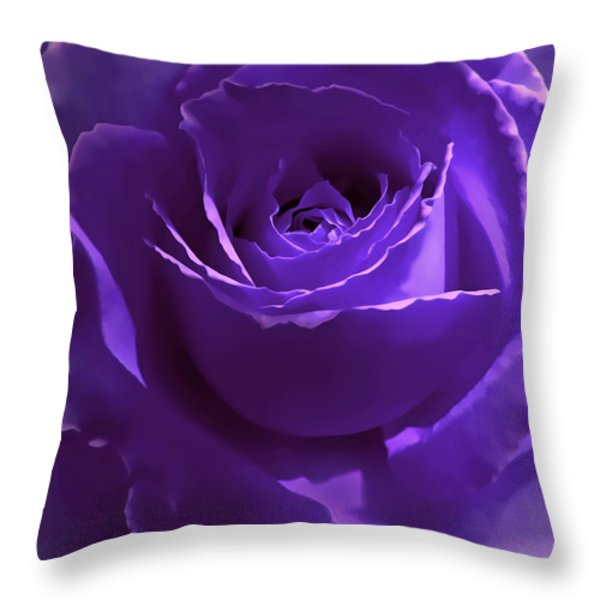 Dark Secrets Purple Rose Throw Pillow by Jennie Marie Schell