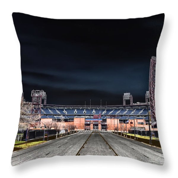 Dark Skies at Citizens Bank Park Throw Pillow by Bill Cannon