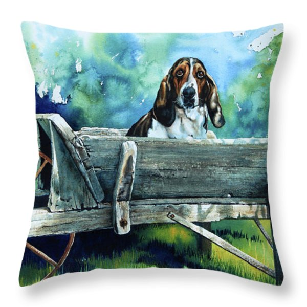 Darn Dog Days Throw Pillow by Hanne Lore Koehler