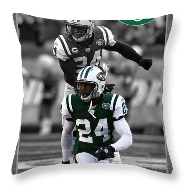 Darrelle Revis Jets Throw Pillow by Joe Hamilton