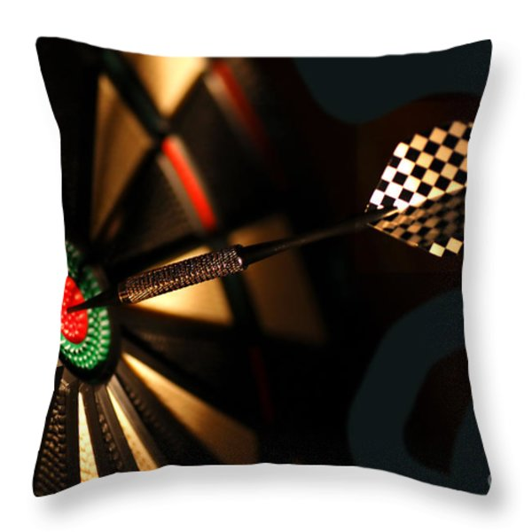 Dart board in bar Throw Pillow by Michal Bednarek