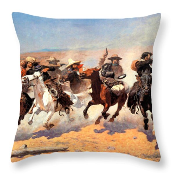 Dash For The Timber Throw Pillow by Frederic Remington