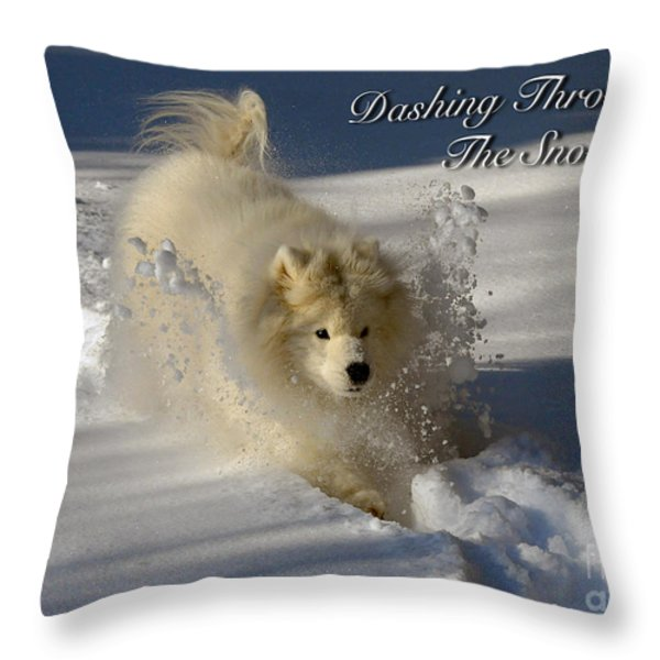 Dashing Through The Snow Throw Pillow by Lois Bryan