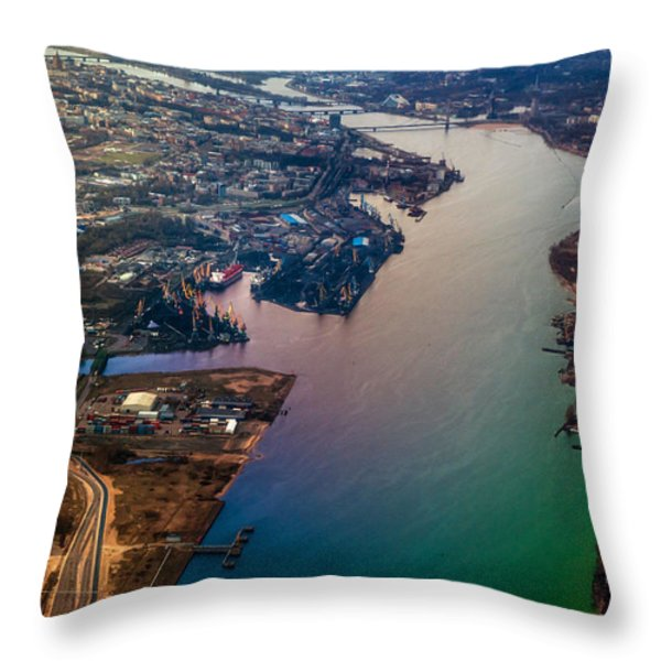 Daugawa River. Riga. Latvia. Rainbow Earth Throw Pillow by Jenny Rainbow