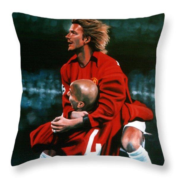 David Beckham And Juan Sebastian Veron Throw Pillow by Paul Meijering