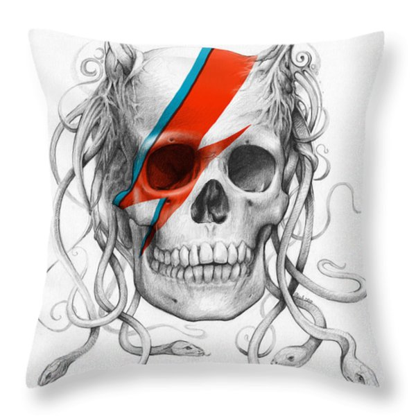 David Bowie Aladdin Sane Medusa Skull Throw Pillow by Olga Shvartsur