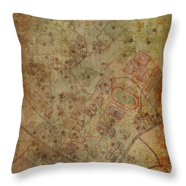 Davidson College Map Throw Pillow by Paulette B Wright
