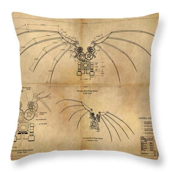 Davinci's Wings Throw Pillow by James Christopher Hill