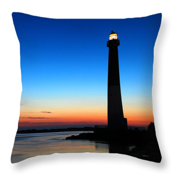 Dawn At Barnegat Light Throw Pillow by James Kirkikis