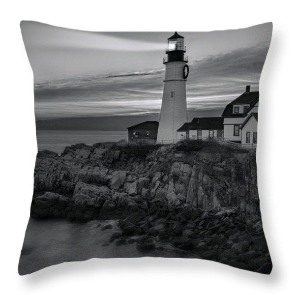 Dawn At Portland Head Light BW Throw Pillow by Susan Candelario