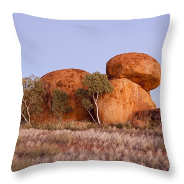 Dawn Devils Marbles Northern Territory Throw Pillow by Colin and Linda McKie