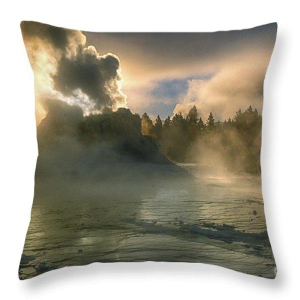 Dawn on Castle Geyser Throw Pillow by Sandra Bronstein