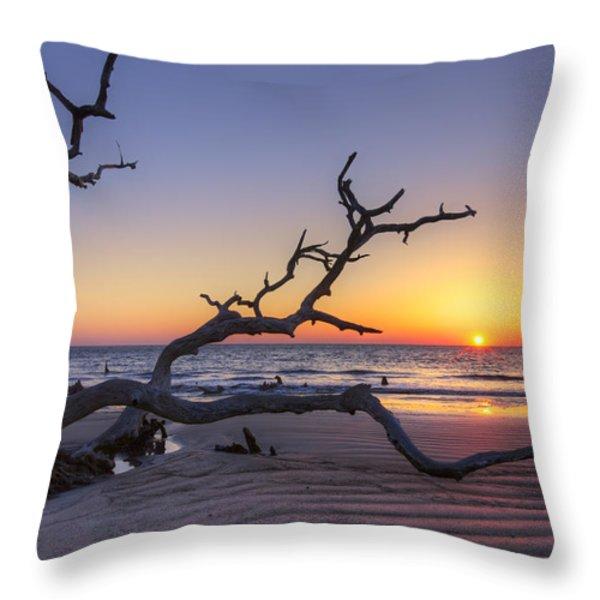 Dawn's Yawn Throw Pillow by Debra and Dave Vanderlaan