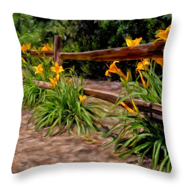 Day Lilies Throw Pillow by Michael Pickett