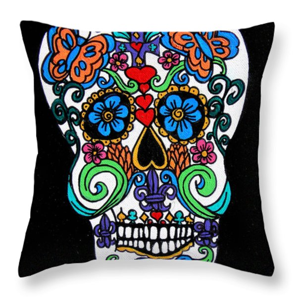 Day Of The Dead Skull Throw Pillow by Genevieve Esson