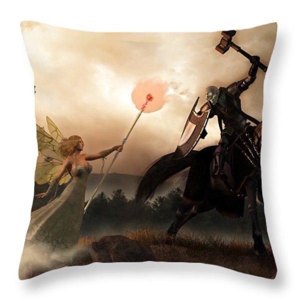 Death Knight and Fairy Queen Throw Pillow by Daniel Eskridge