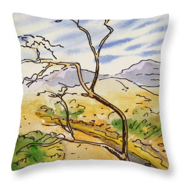 Death Valley- California Sketchbook Project Throw Pillow by Irina Sztukowski