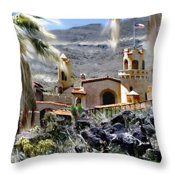Death Valley Scotty's Castle Throw Pillow by Bob and Nadine Johnston