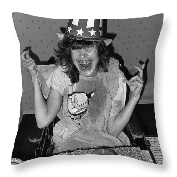 Debbie C. celebrating July 4th Lincoln Gardens Tucson Arizona 1990 Throw Pillow by David Lee Guss