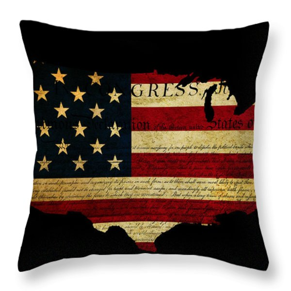 Declaration of Independence grunge America map flag Throw Pillow by Matthew Gibson